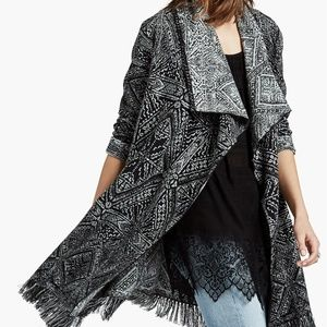 Lucky Brand Aztec Fringe Waterfall Cardigan S